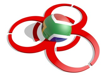 south africa flag textured sphere in the biohazard alert 3d sign