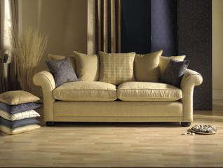 cream sofa in modern living room with cushions