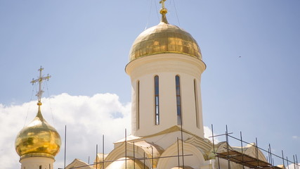 Beautiful Russian Church. Golden Domes. HD 1080.