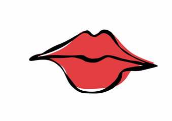 doodle sexy red lips, stylized