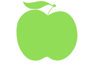 doodle green apple silhouette