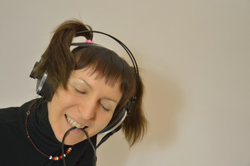 Girl, headphones
