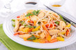 canvas print picture - fried noodles with meat and vegetables