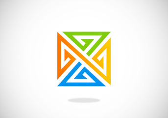 square line triangle abstract vector logo