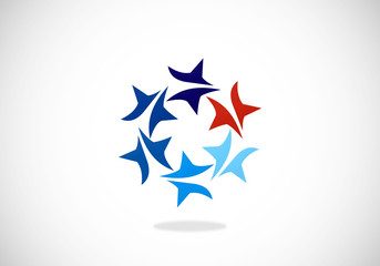 star circle blue red vector logo
