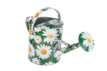 cheerful painted watering can isolated on white background