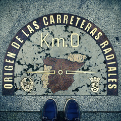 Kilometre Zero point in Puerta del Sol, Madrid, Spain, with a re