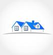 Houses blue apartments vector logo identity card
