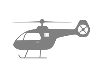 Grey helicopter icon on white background