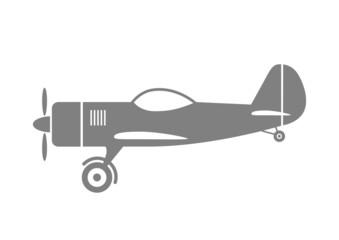 Grey plane icon on white background
