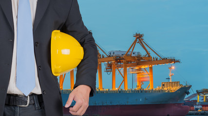 Engineer  for port with cranes and containers.