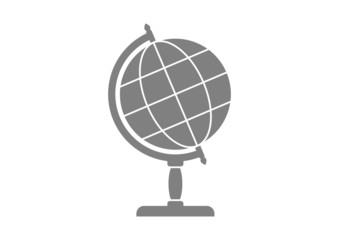 Grey globe icon on white background