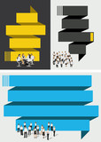 Blue and yellow template for brochure with business people
