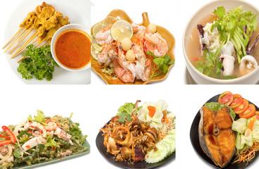 Variety of popular thai food