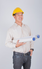 asian engineer with blueprints