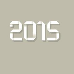 2015 Happy New Year Origami Grau