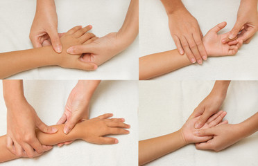 Collage of children massage with mother hand