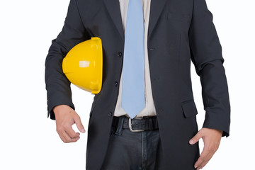 engineer yellow helmet for workers on white background