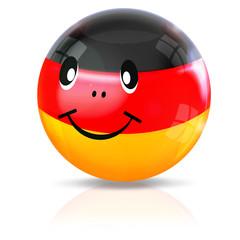 Deutsches Smiley in schwarz-rot-gold, freigestellt