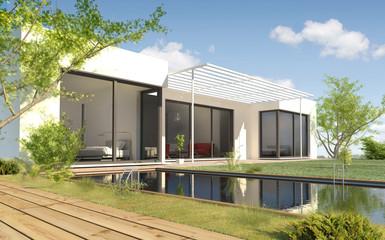 Maison avec une piscine