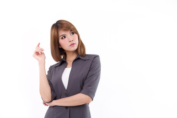 confident and positive business woman looking at blank space