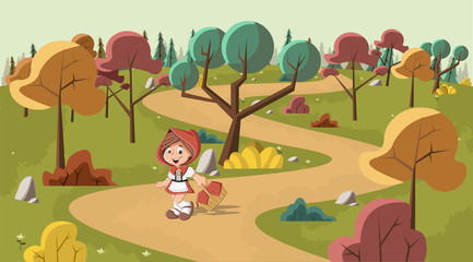 Cute cartoon little red riding hood in the wood