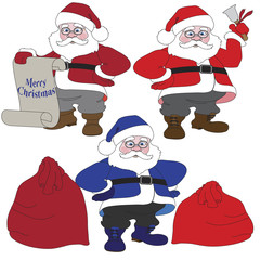 Set of 3 Santa Claus and bag with gifts.