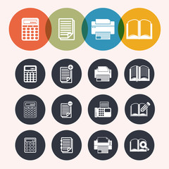 collection Circle Series icons ,Calculator, notepad, print, book