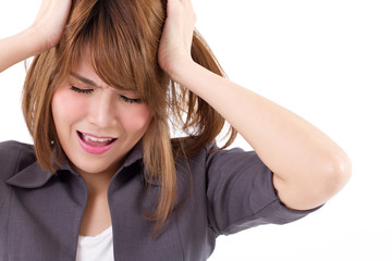 business woman screaming, crying, shouting on white isolated