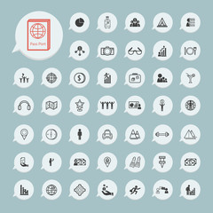 Business icons and itinerary icons Set on blue paper set.2
