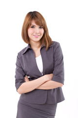 confident, positive business woman looking at you, crossed arm