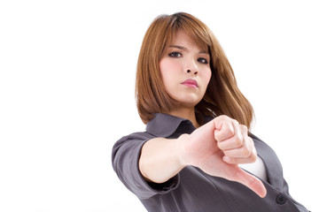 angry businesswoman giving, showing thumb down hand gesture