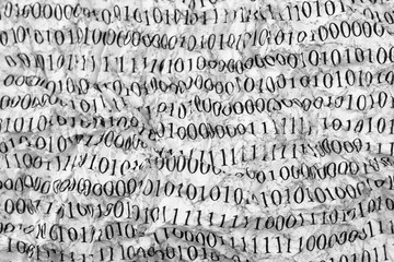 Crushed paper with binary code