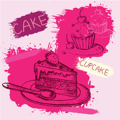 Two sketch style cupcakes