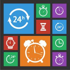 White clock icons set