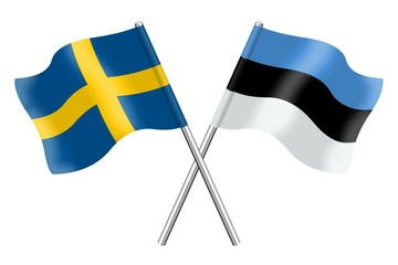 Flags : Sweden and Estonia