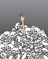 Survivor reaching hand among skulls