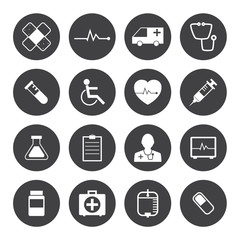 Black and White Medical Icons Collection Vector icon set. EPS 10