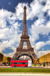 Eiffel Tower with red bus in Paris, France - 69382103