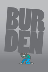 Guy carrying heavy burden word