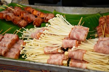 Bacon wrapped Enokitake mushrooms