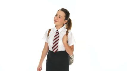 Attractive happy young schoolgirl