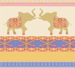 Oriental pattern with elephants