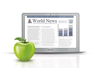 slim notebook vector, apple fruit