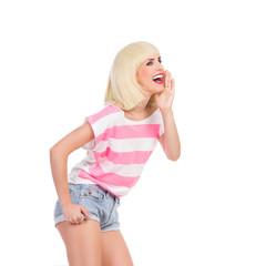 Shouting blond woman