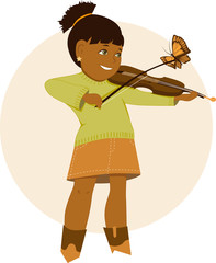 Little girl playing violin, butterfly sitting on her bow