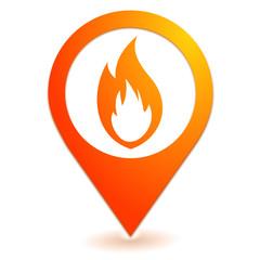feu sur symbole localisation orange