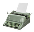Retro Typewriter with Paper Isolated