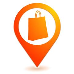panier sur symbole localisation orange