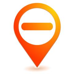 signe moins sur symbole localisation orange